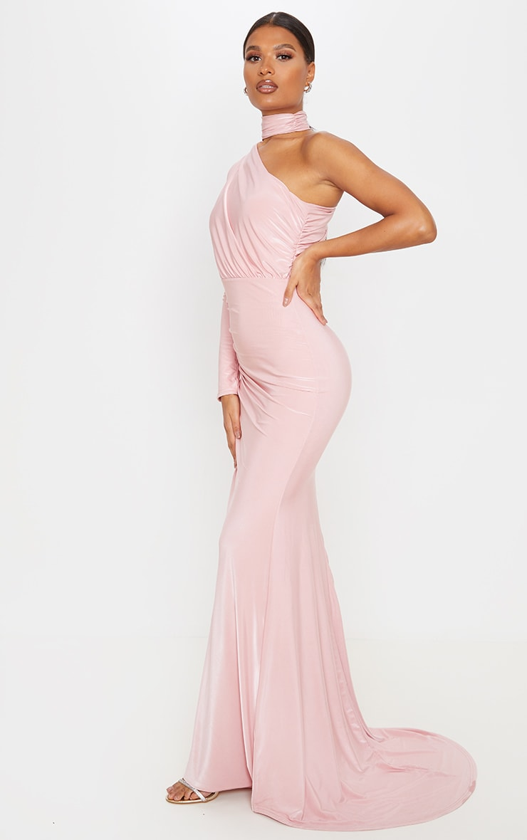 Baby Pink Ruched One Shoulder Maxi Dress 1