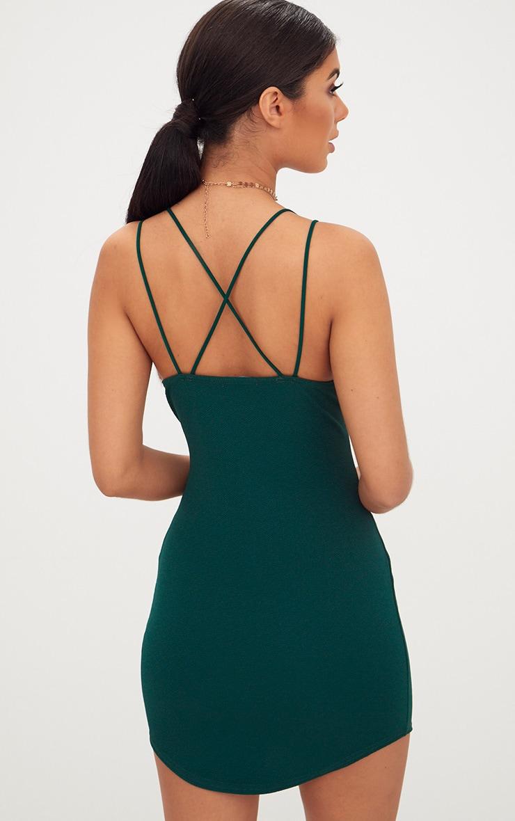 Emerald Double Strap Cross Back Plunge Bodycon Dress 2