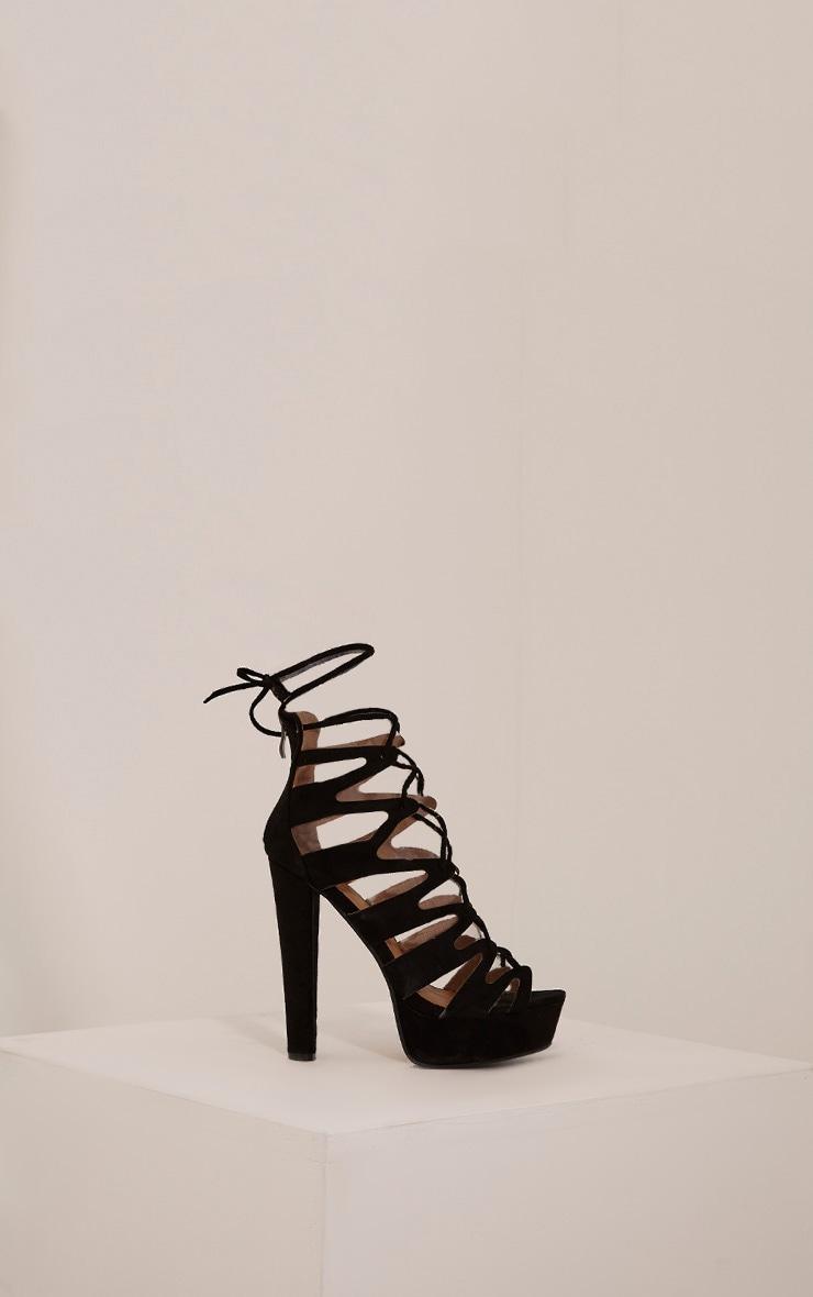 Vivianna Black Lace Up Platform Heels 6