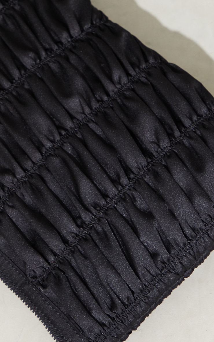 Black Satin Oversized Ruched Clutch 4