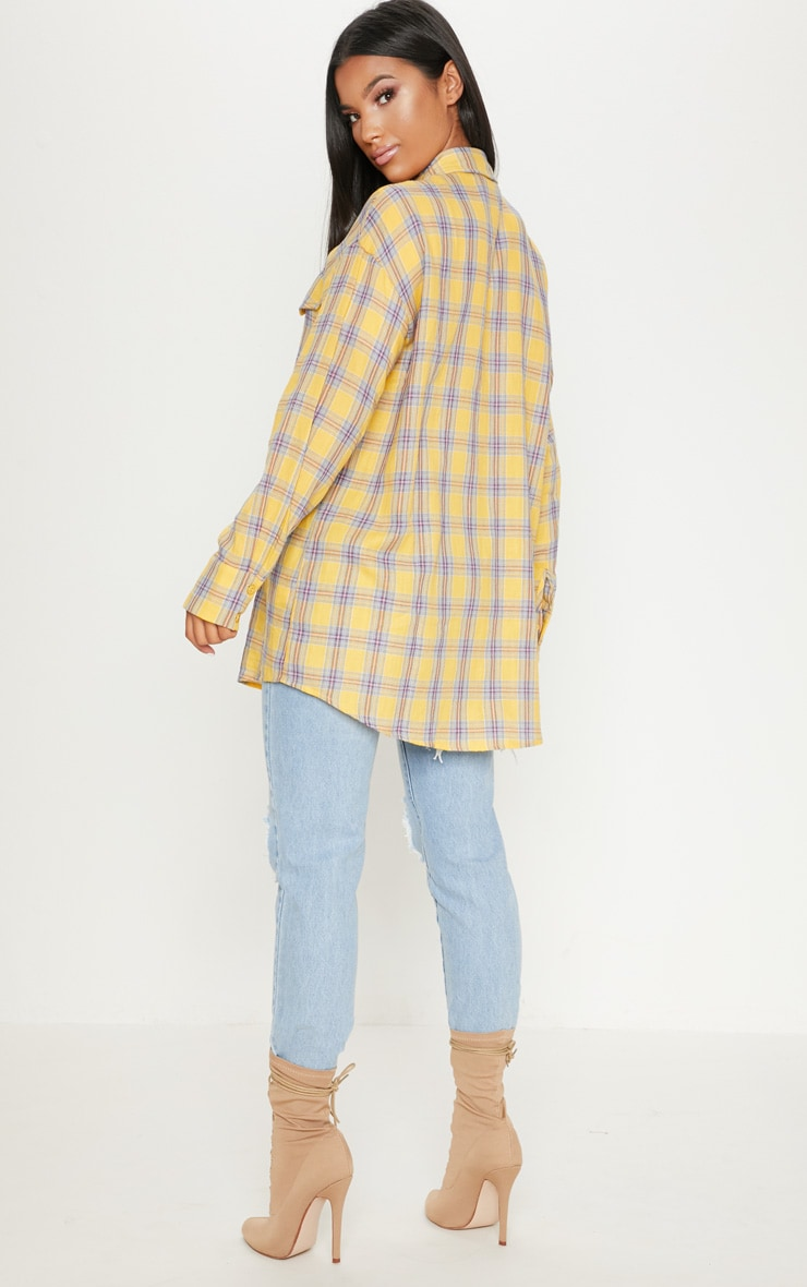 Pale Yellow Check Oversized Shirt 2