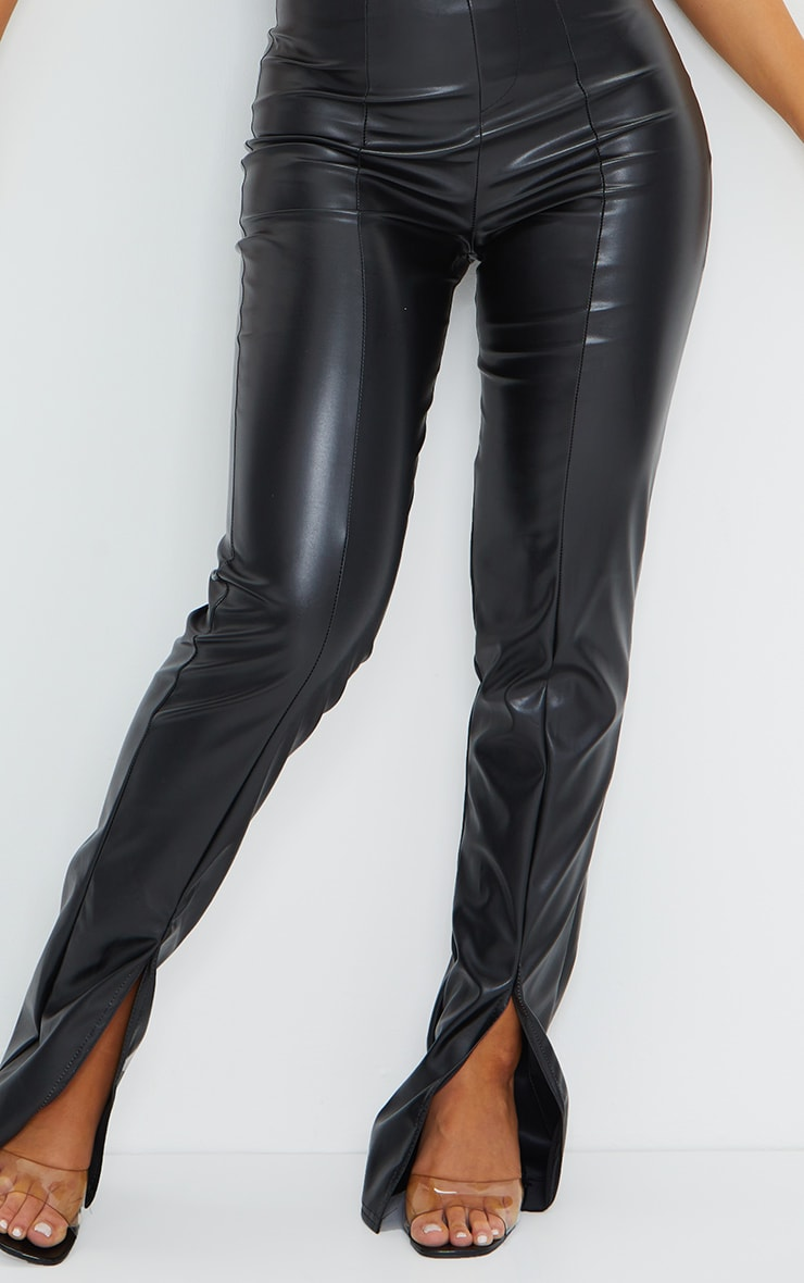 Black Faux Leather Seam Detail Split Hem Pants 4