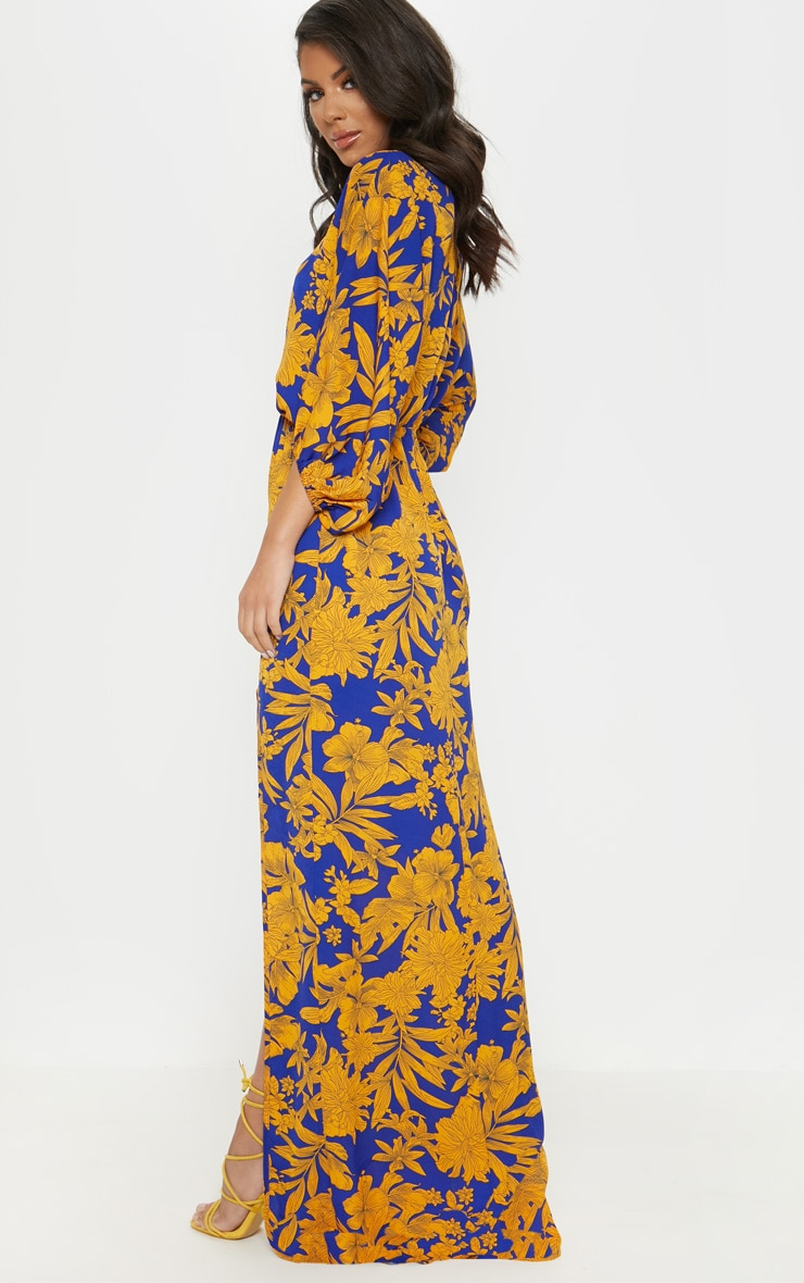 Cobalt Tropical Print Batwing Sleeve Split Leg Maxi Dress 3