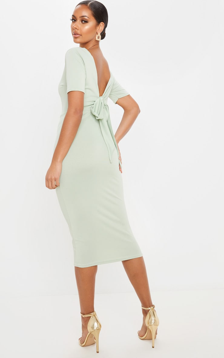 Sage Khaki Tie Back Short Sleeve Midi Dress 5