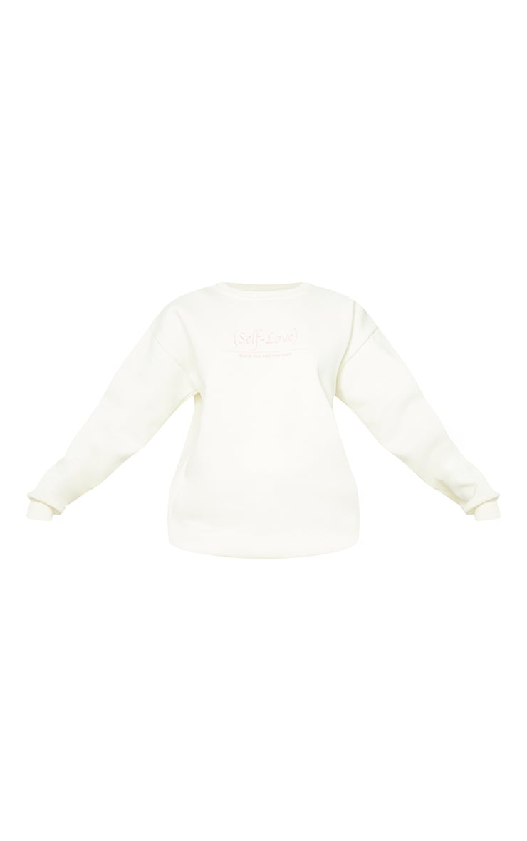 PRETTYLITTLETHING Cream Self Love Club Embroidered Sweatshirt 5