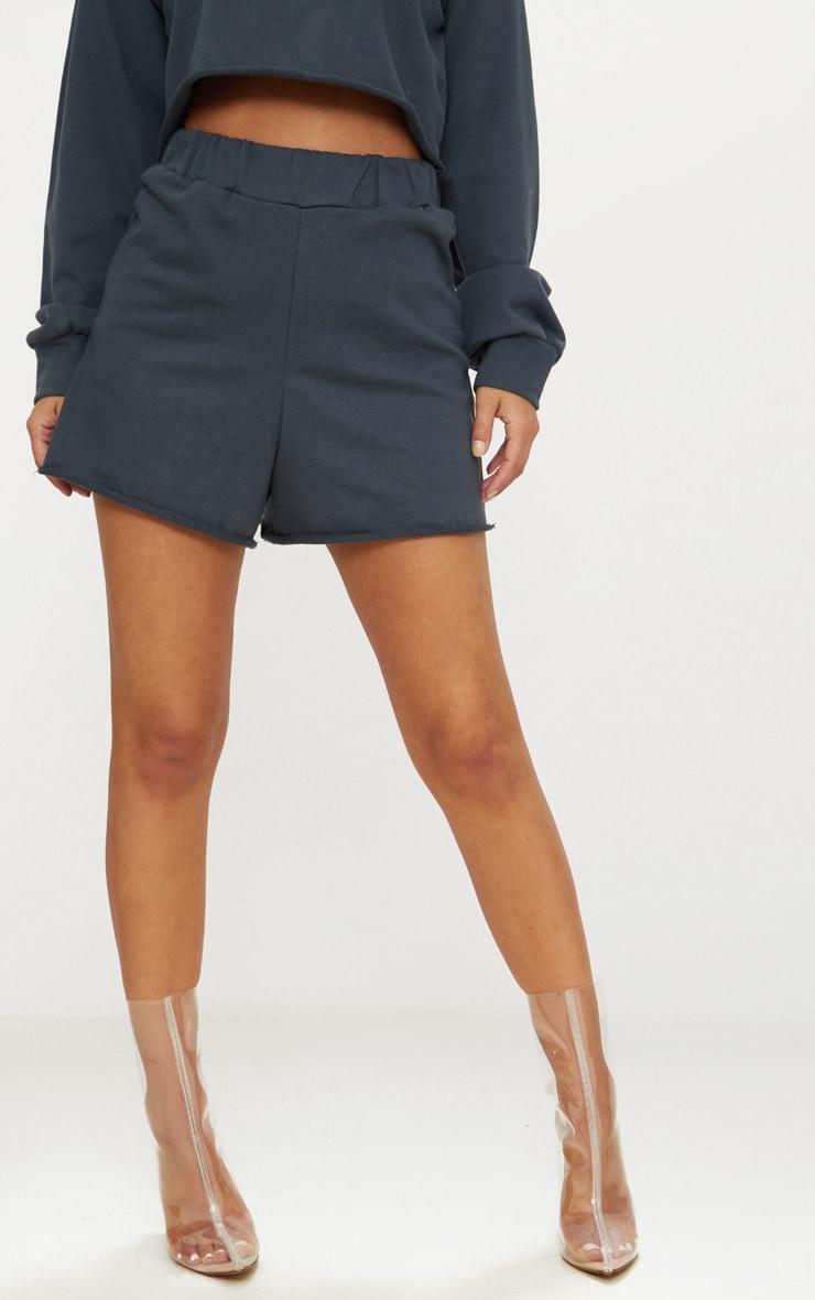 Petite Charcoal Raw Edge Shorts 2