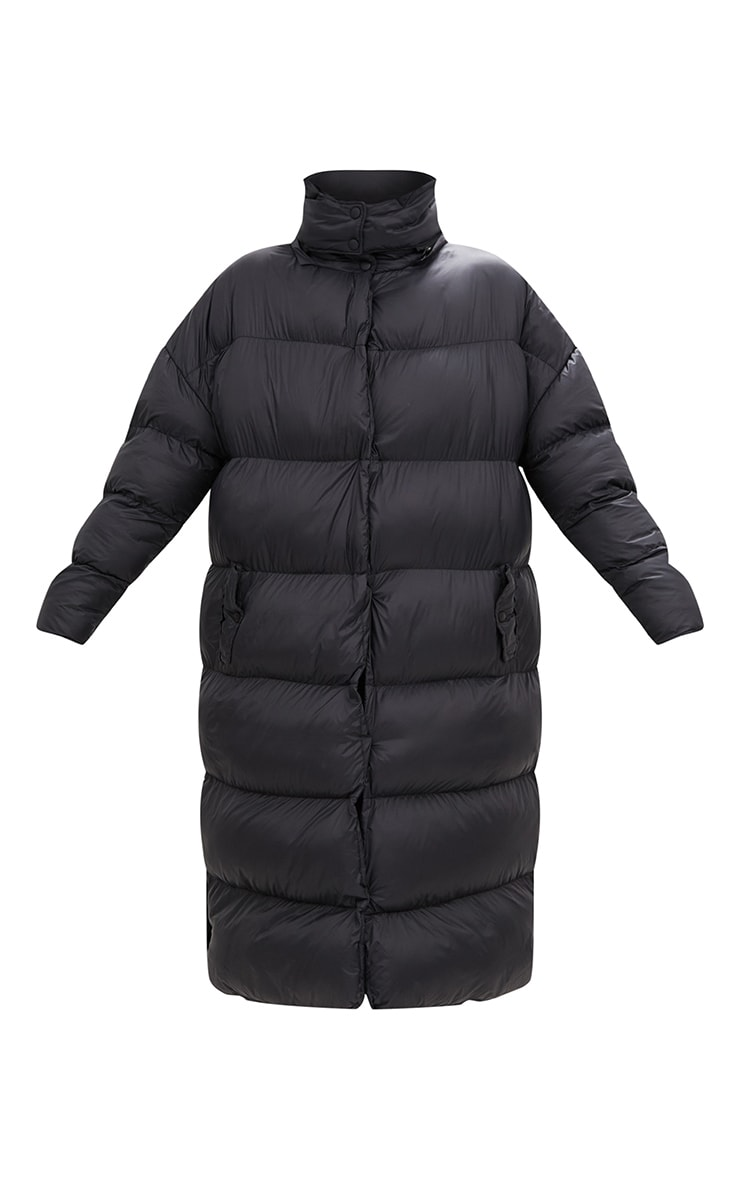 Black Oversized Longline Puffer Jacket with Hood 3