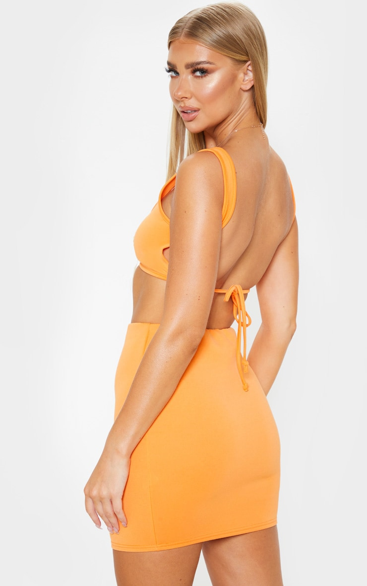 Orange Crepe Scoop Neck Strap Crop Top 1