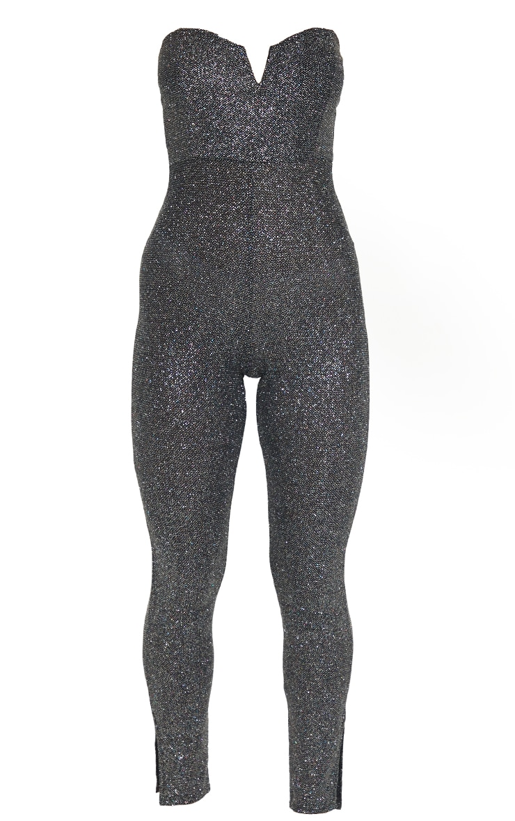 Black Glitter V Bar Bandeau Jumpsuit 5