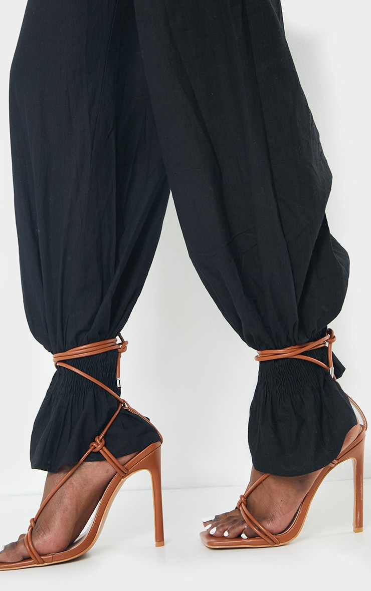 Black Woven Button Shirred Hem Trousers 4