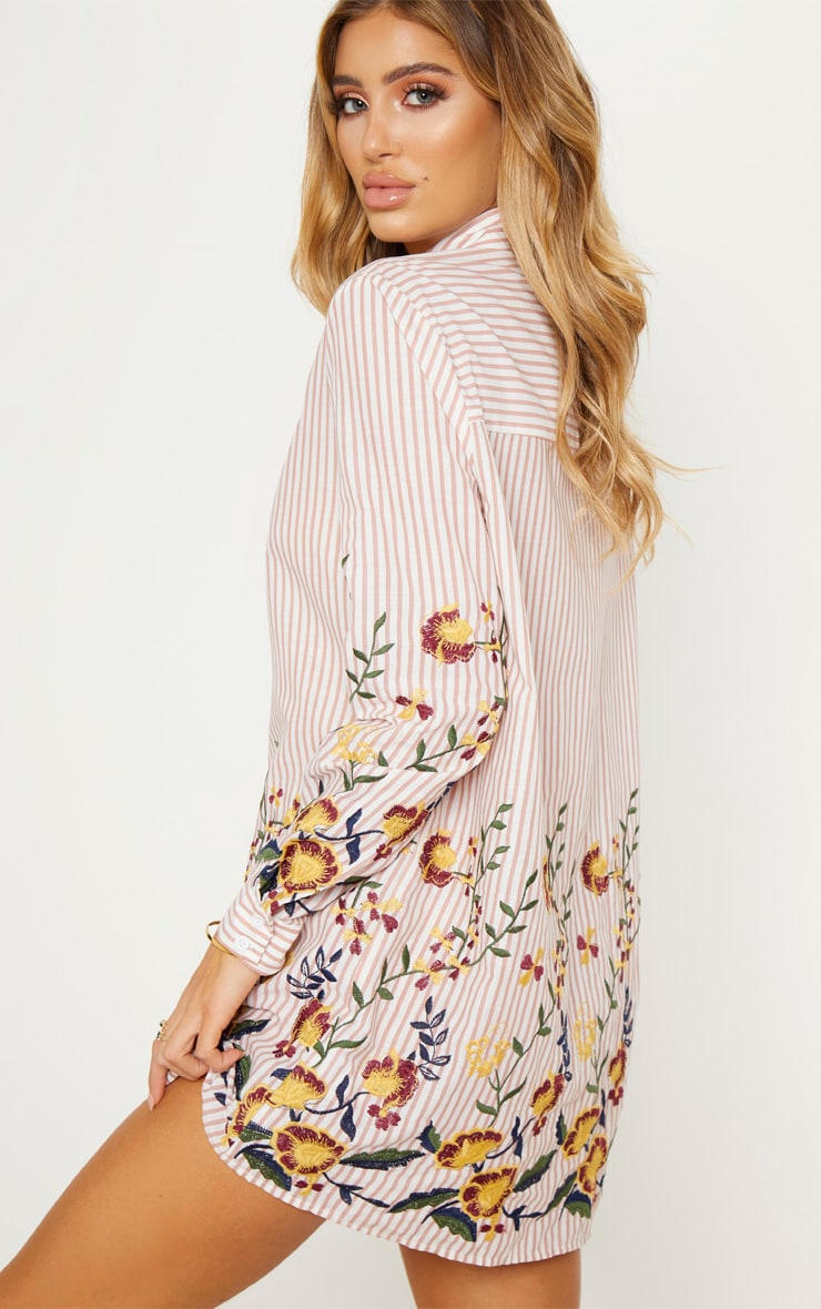 Nude Embroidered Stripe Print Shirt Dress 3