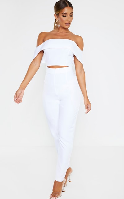 White Bardot Cut Out Straight Leg Jumpsuit
