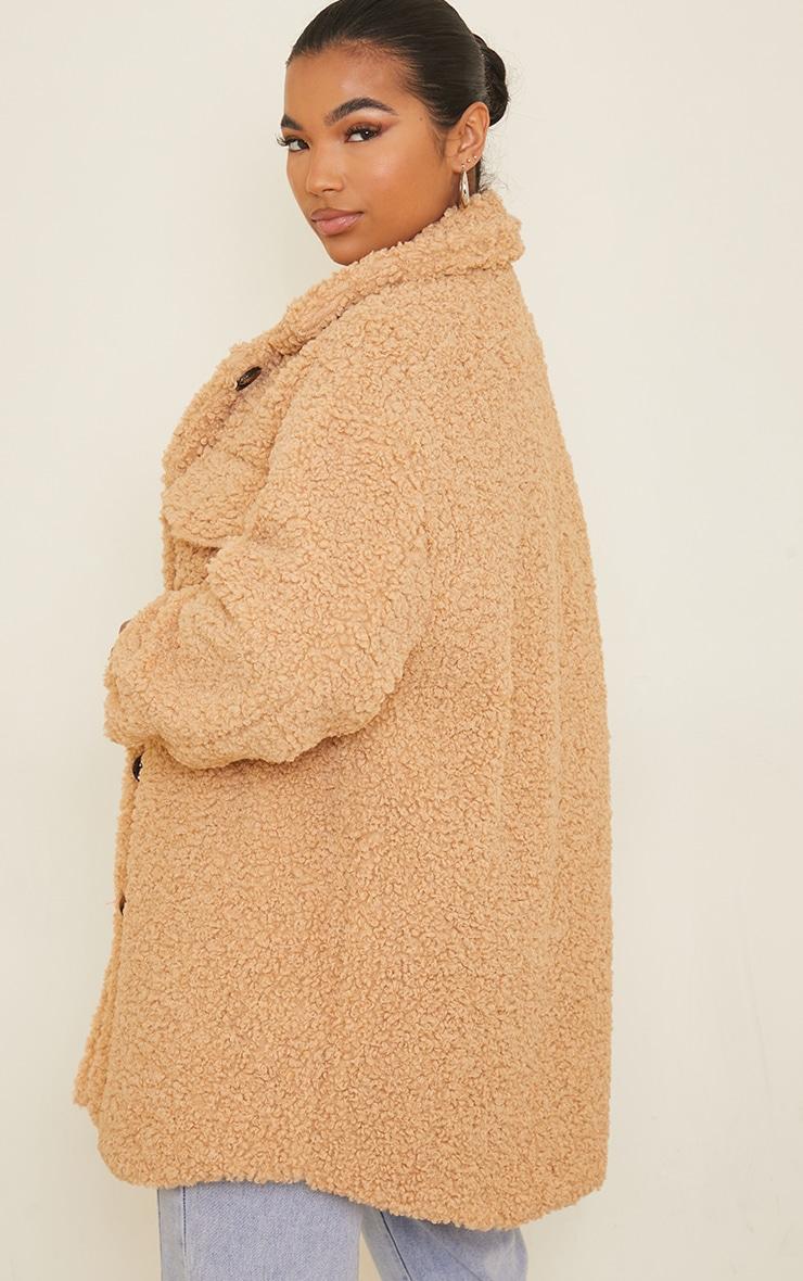 Camel Faux Shearling Oversized Longline Shacket 2