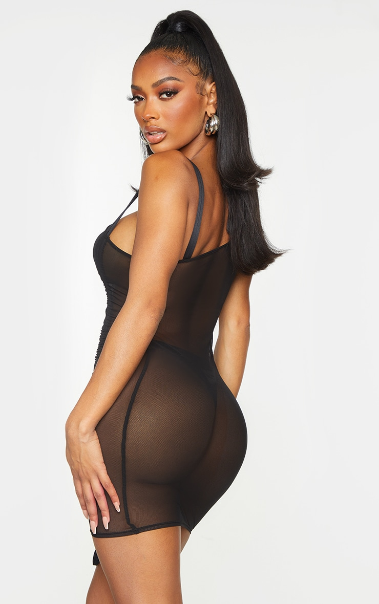 Shape Black Sheer Mesh Ruched Toggle Bodycon Dress 2