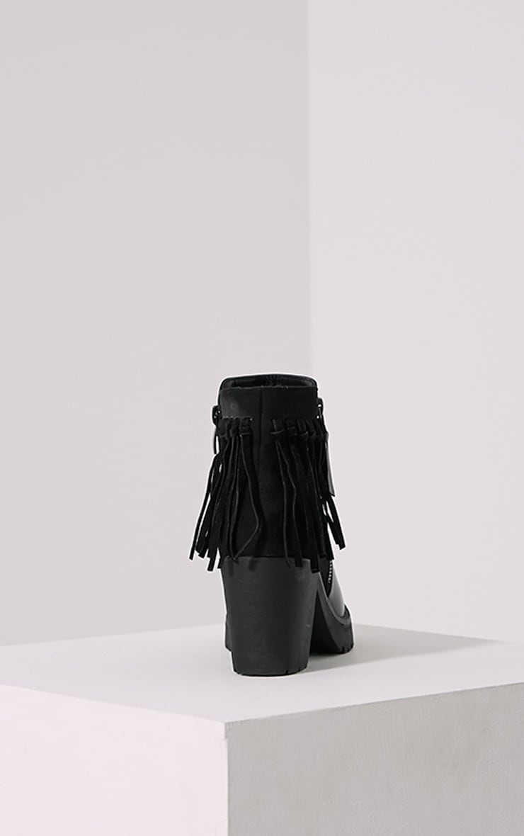 Juana Black Chunky Tassel Ankle Boots 5