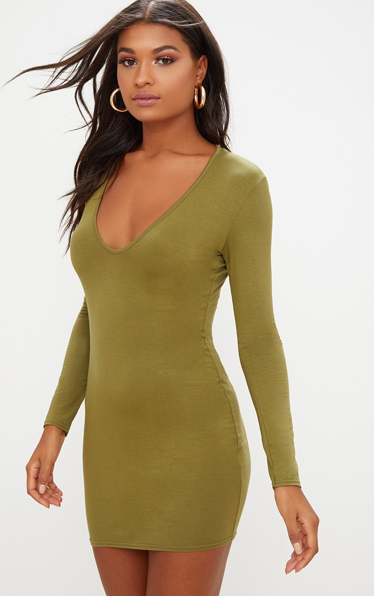 Olive Green Jersey  Extreme Plunge Long Sleeve Bodycon Dress 1