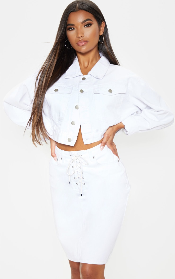 distinctive design wide range united kingdom White Lace Up Front Denim Midi Skirt