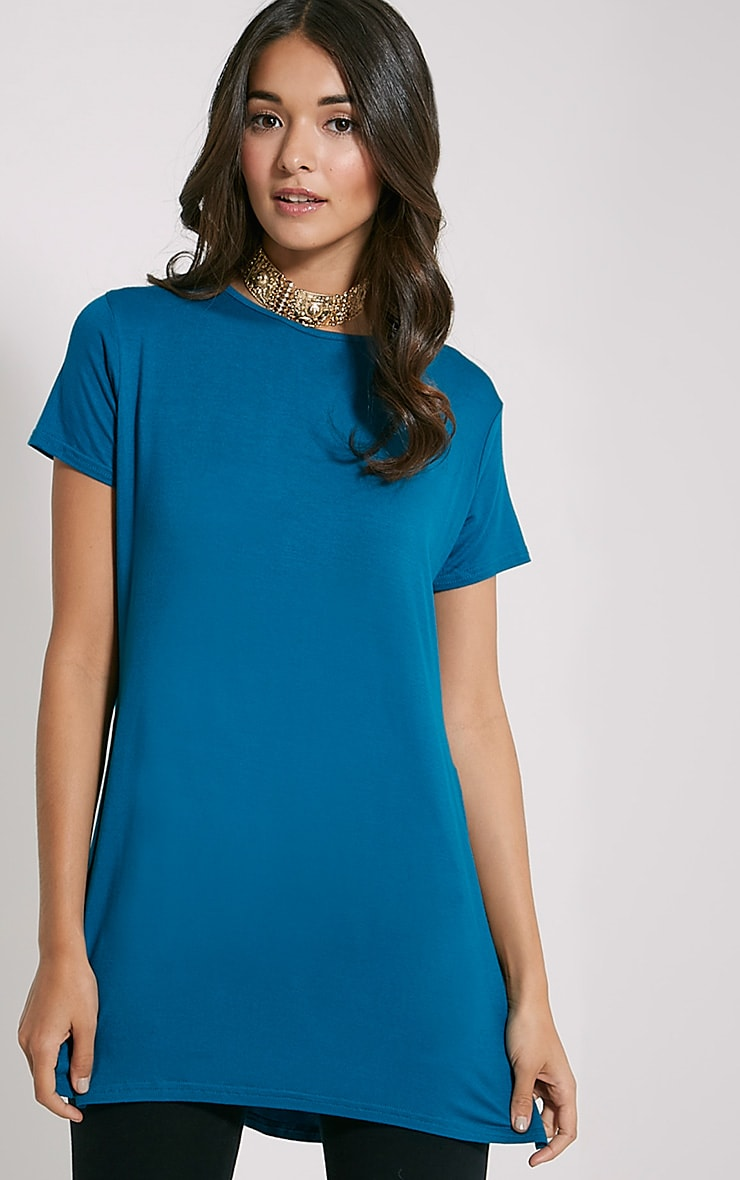 Basic Teal Side Split T-Shirt 4