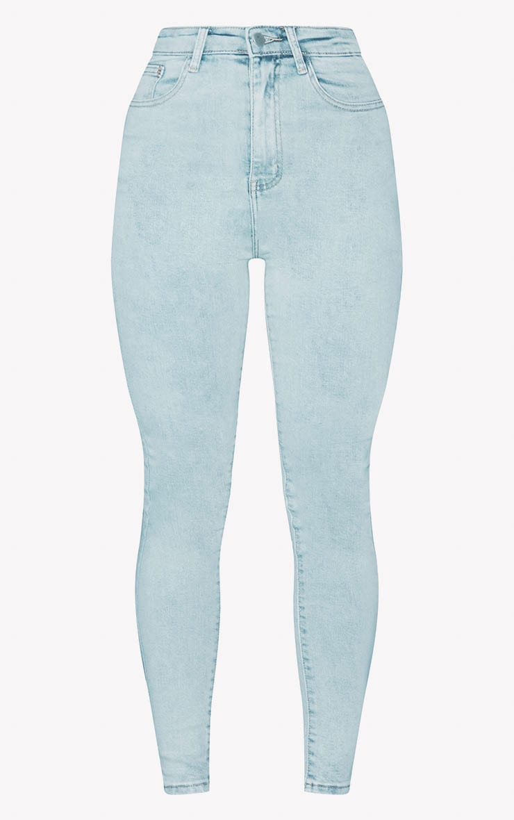 PRETTYLITTLETHING Bleach Wash 5 Pocket Skinny Jean 3