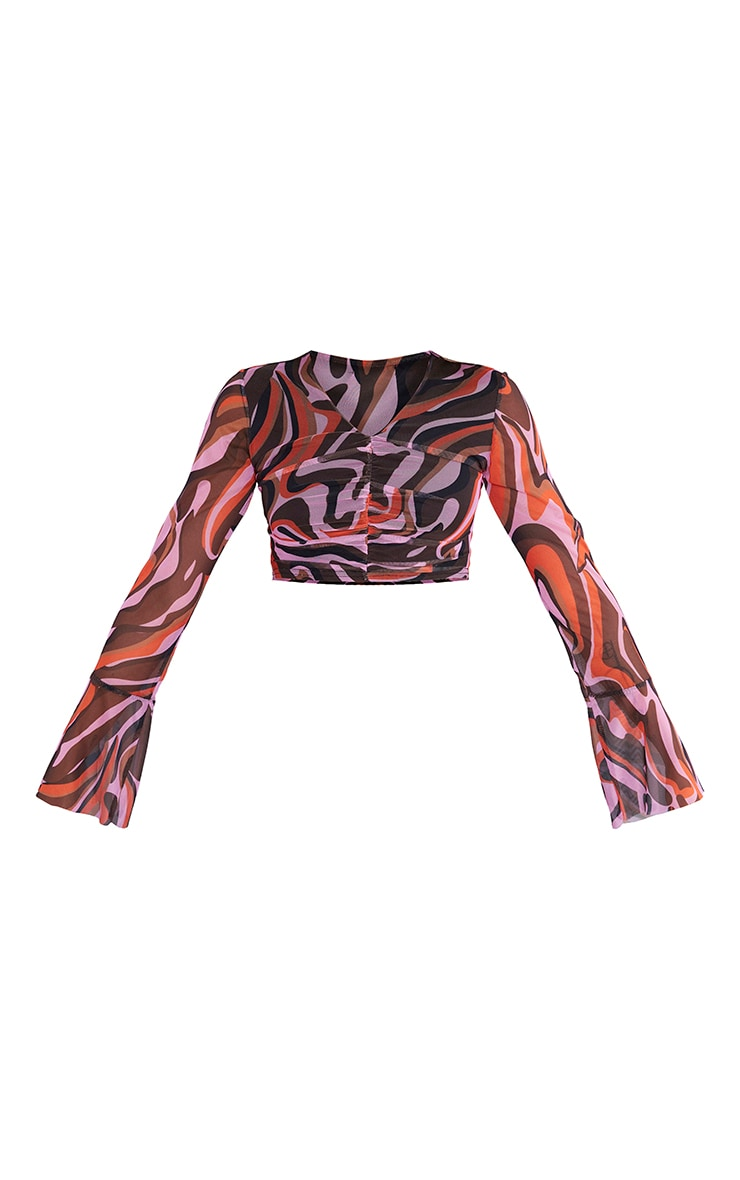 Petite Red Abstract Animal Mesh Flare Sleeve Ruched Crop Top 5