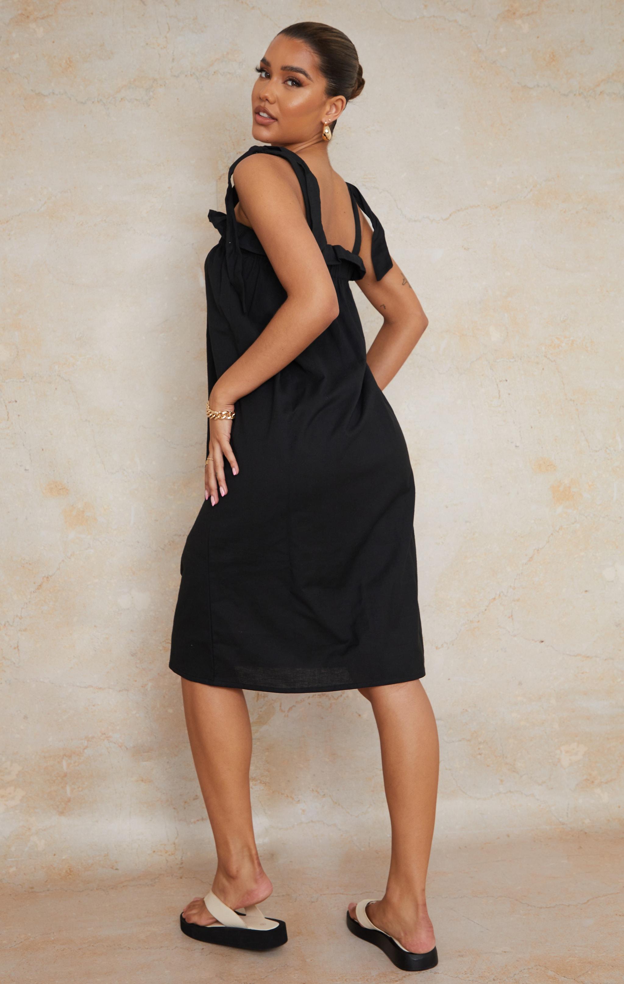 Black Linen Look Tie Strap Ruched Smock Midi Dress 2