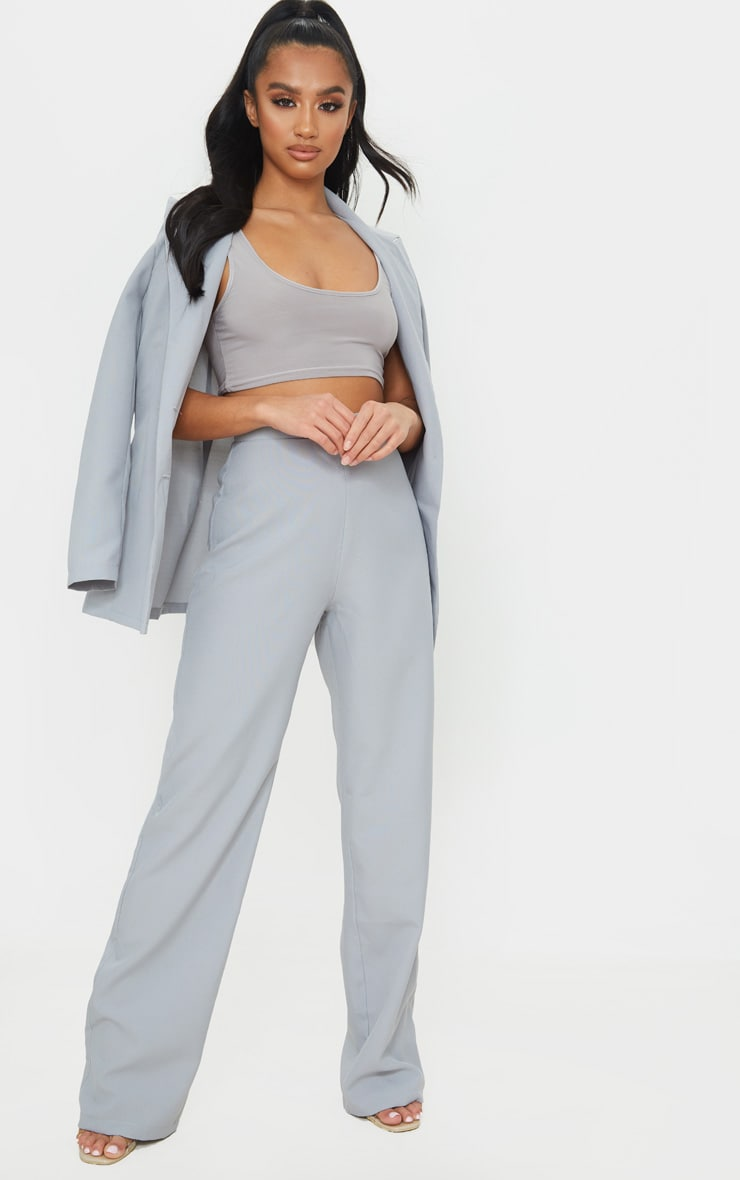 Petite Soft Grey Wide Leg Suit Pants 1