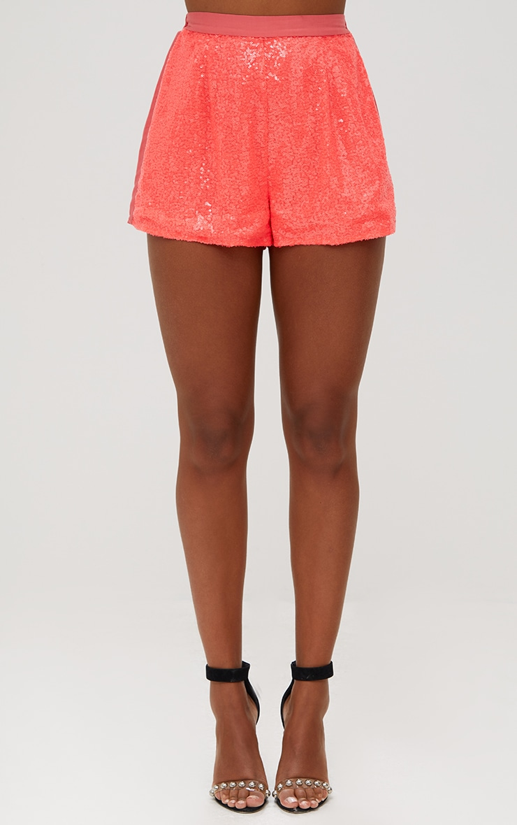 Coral Sequin Shorts 2