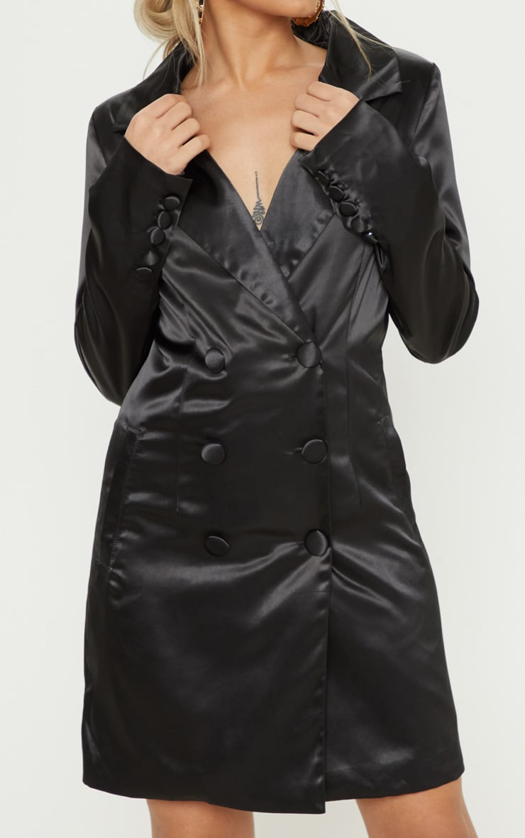 Petite Black Satin Button Detail Blazer Dress 5