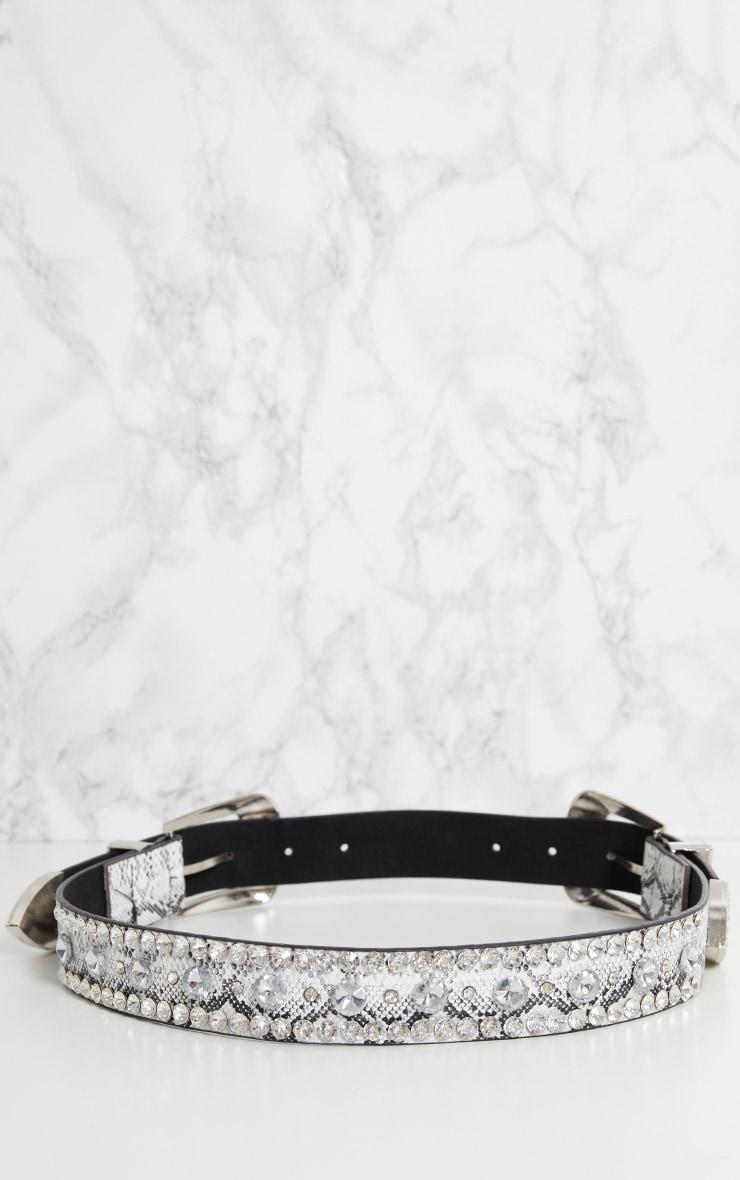 Grey Snake Diamante Double Buckle Belt 5