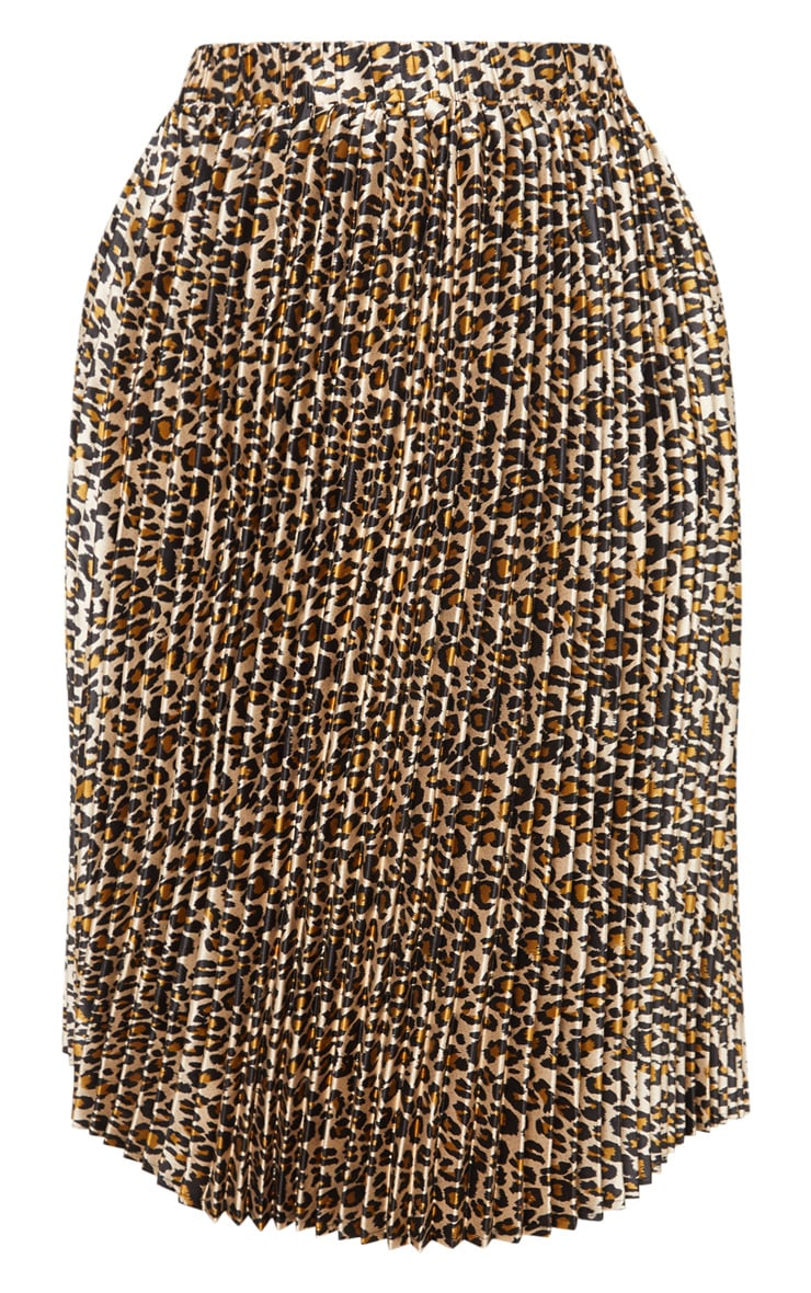 Plus Tan Leopard Pleated Midi Skirt 3