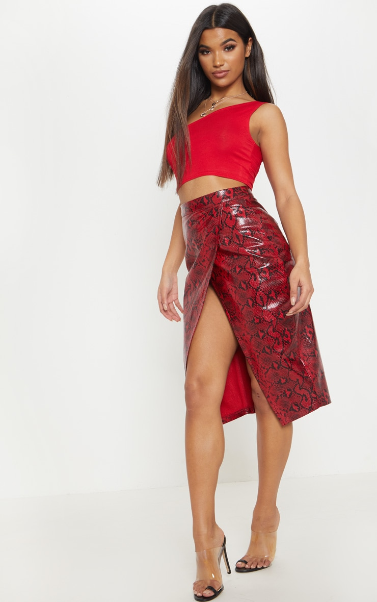 Red Faux Leather Snakeskin Midi Skirt 5