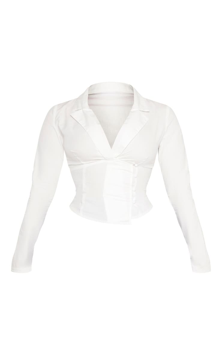 Petite White Plunge Detail Button Side Blouse 5