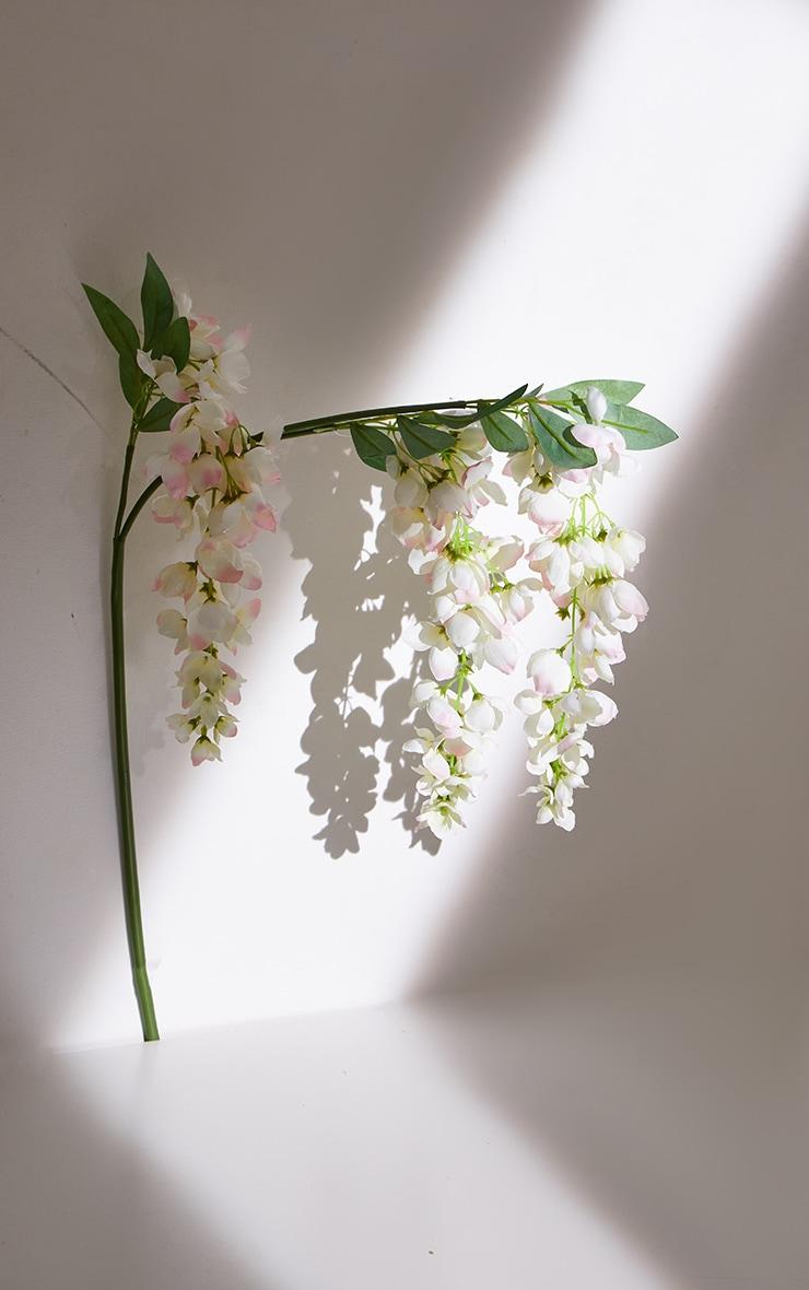 White Silk 3 Head Wisteria Branch Artificial Flower 3