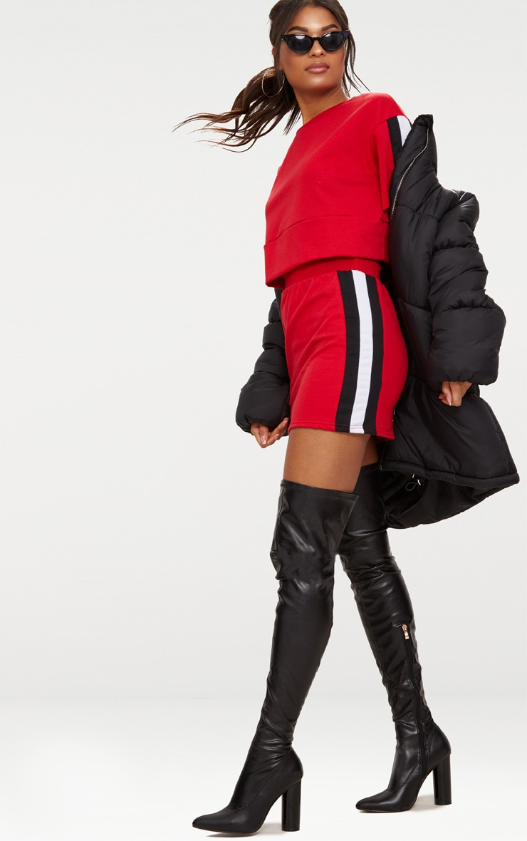 Red Contrast Panel Oversized Short Sleeve Sweater  4