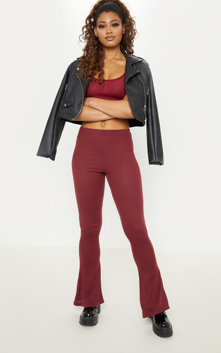 Tall Burgundy Ribbed Flared Trouser  1