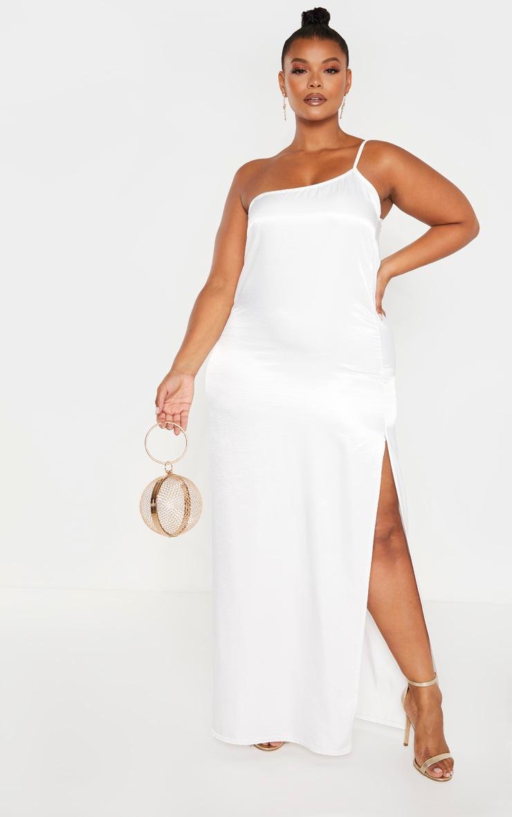 Plus White Crushed Satin Asymmetric Maxi Dress  by Prettylittlething
