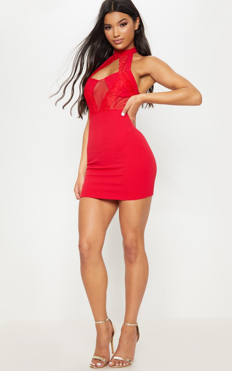 Red Lace Trim High Neck Sheer Top Bodycon Dress  4
