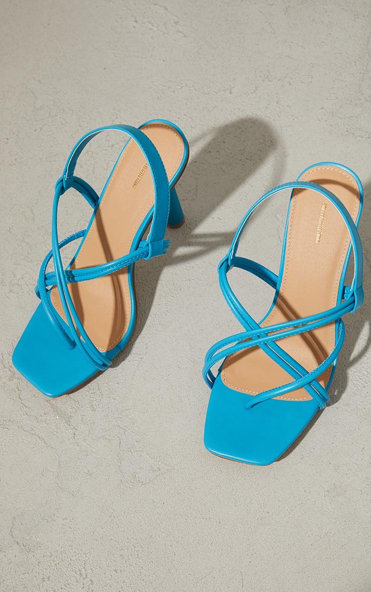 Aqua PU Knot Toe Loop Slingback High Flare Heel Sandals 3