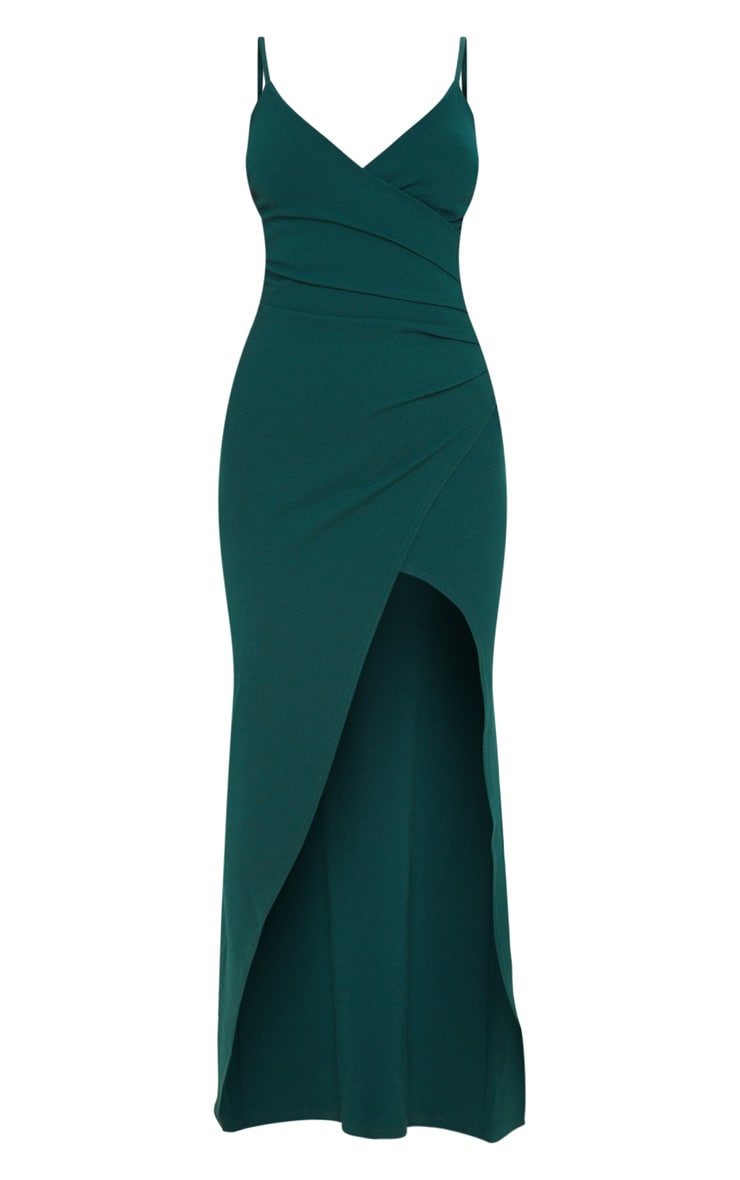 Emerald Green Wrap Front Crepe Maxi Dress 4