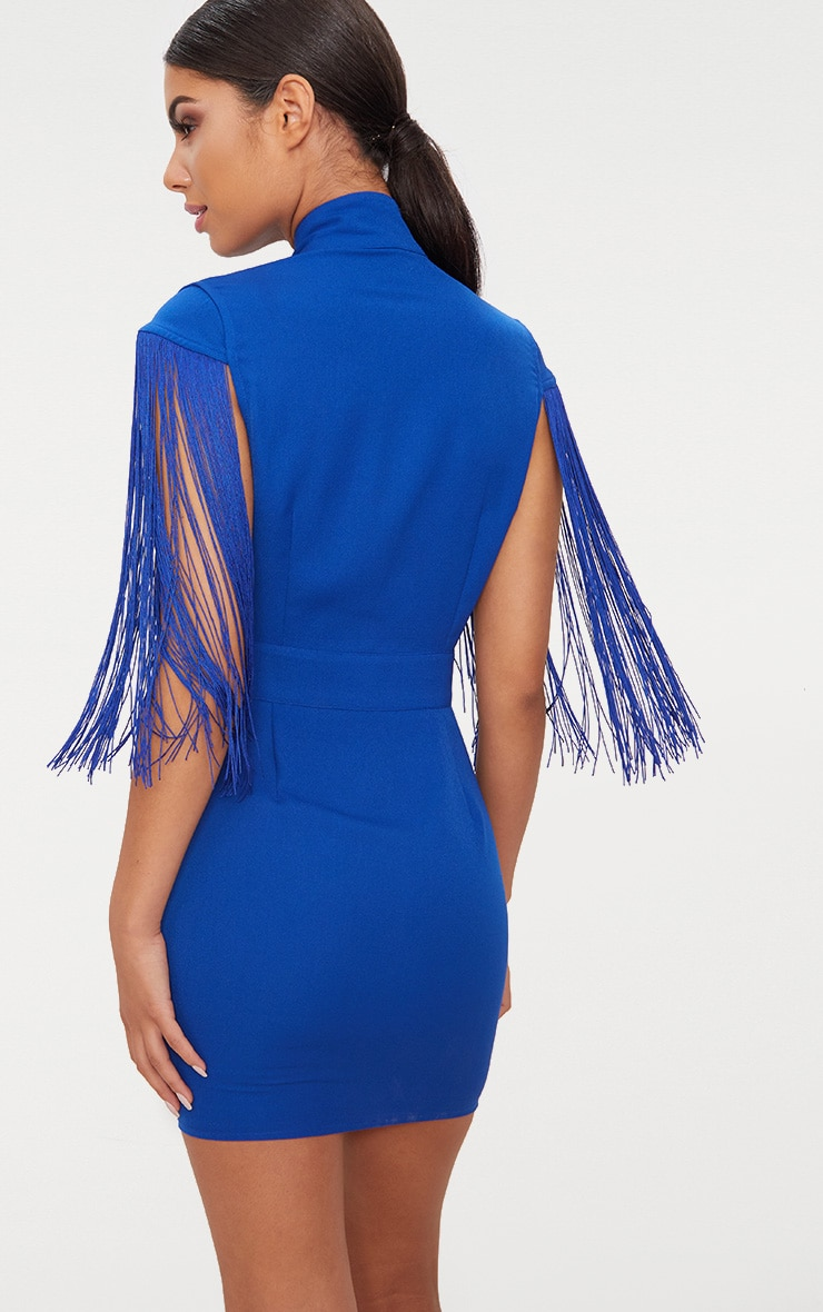 Shop For Cheap Online Cobalt Tassel Cap Sleeve Plunge Bodycon Dress Pretty Little Thing Free Shipping Shop Discount Store Buy For Sale Fast Delivery Xjs7XYRC