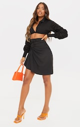 Black Woven Ruched Drape Front Mini Skirt 1