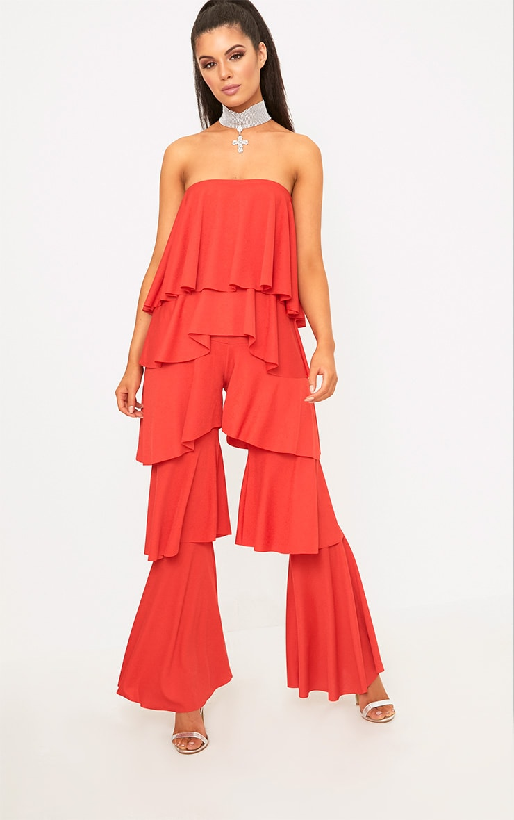 Red Bardot Frill Layer Detail Jumpsuit 4
