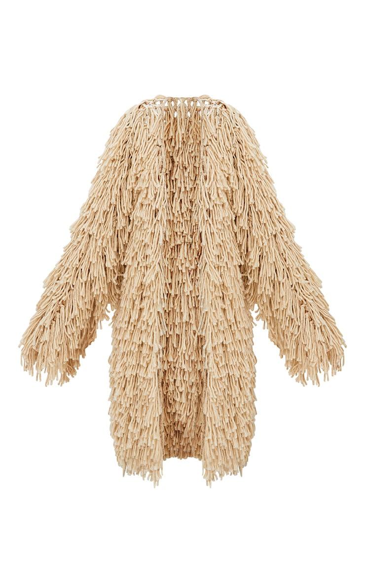 Cardigan long en tricot hirsute gris pierre 4