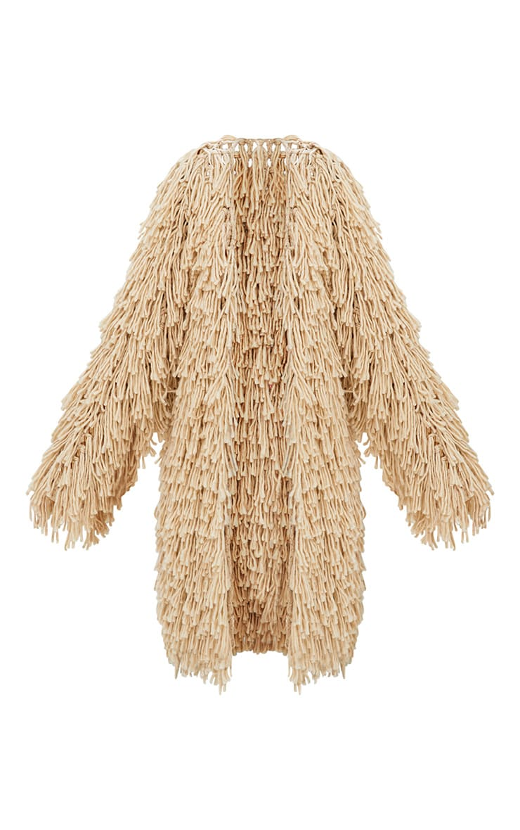 Stone Shaggy Knit Long line Cardigan 3