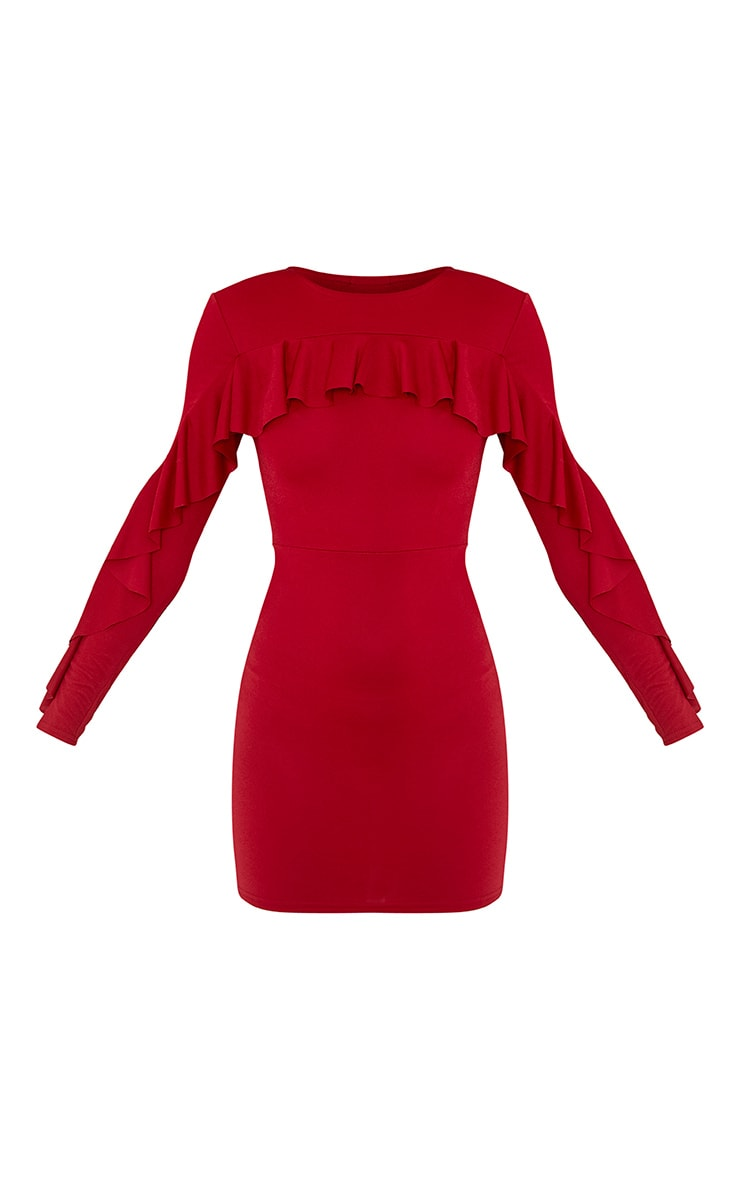 Rita Burgundy Frill Sleeve Bodycon Dress 3