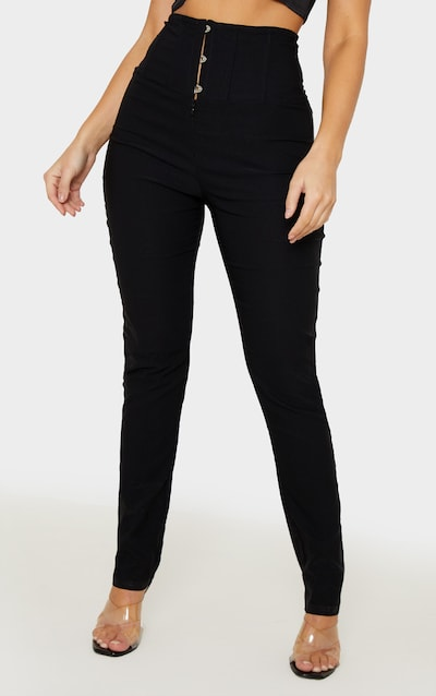 Black Skinny Corset Detail Trouser
