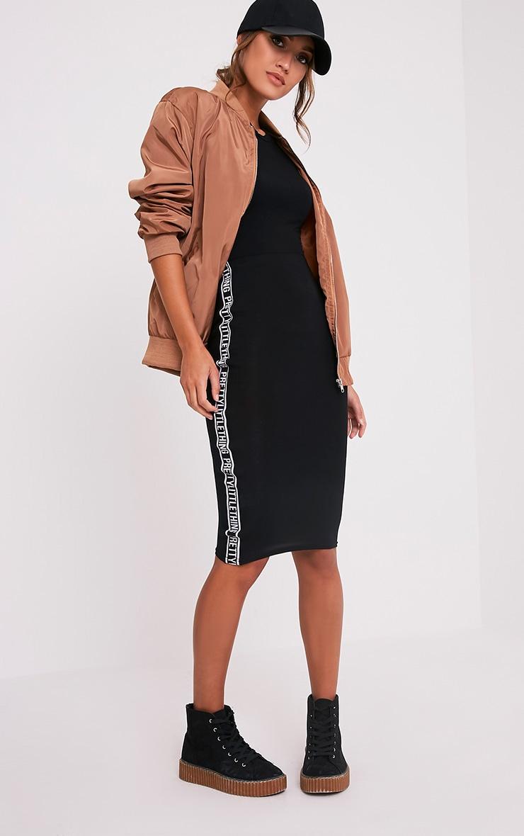 PRETTYLITTLETHING Side Panel Black Midi Skirt 1