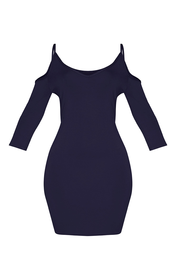 Kaleah Navy Cold Shoulder Bodycon Dress 4