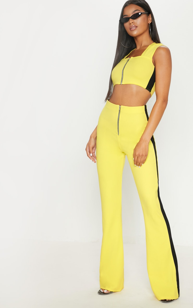 Yellow High Waisted Side Stripe Trouser