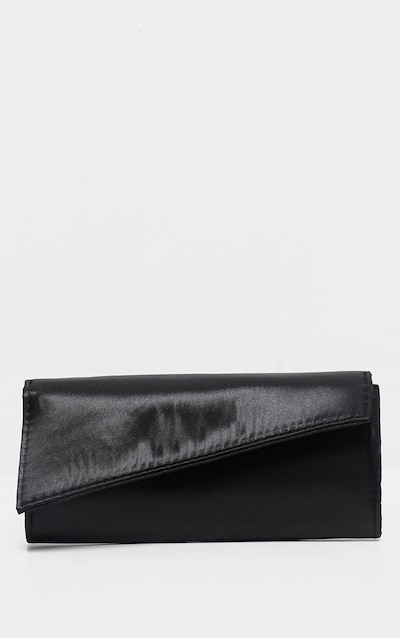 Black Satin Mini Clutch On A Chain Bag